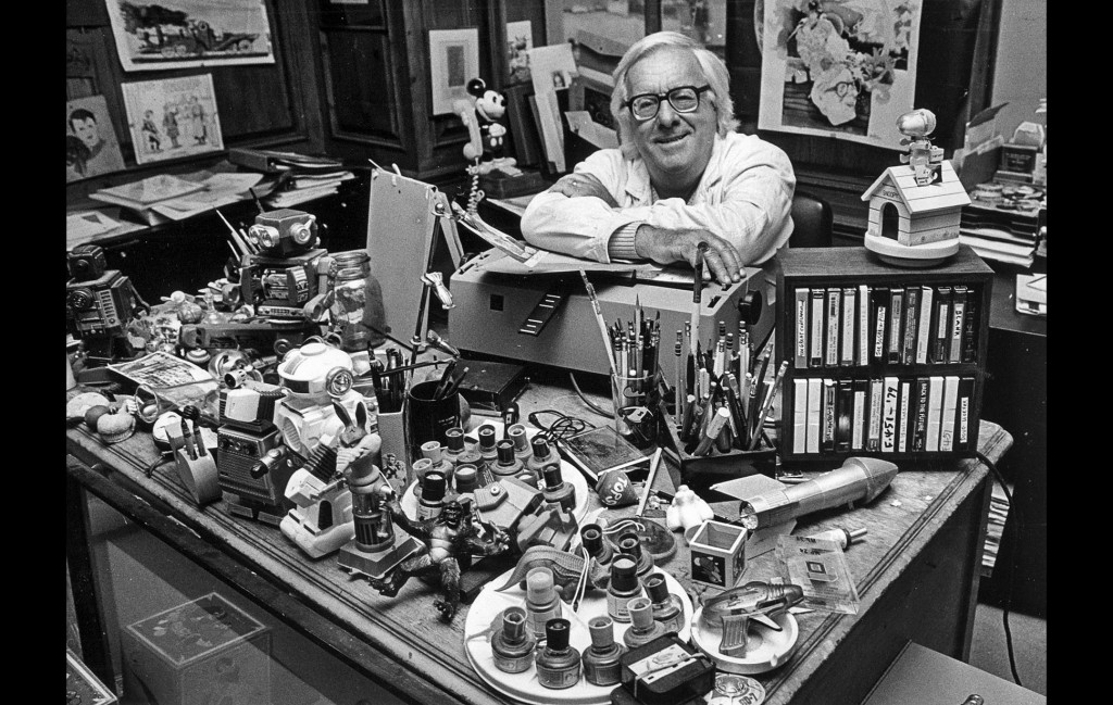 Ray Bradbury photographed in his office in 1987.
